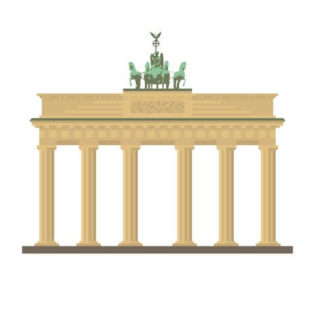 Flat design isolated vector icon of Brandenburg Gate at Berlin, Germany Illustration