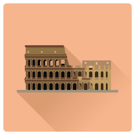 Flache Design-Langschatten-Vektorillustration von Kolosseum-Amphitheater-Ruinen bei Rom, Italien