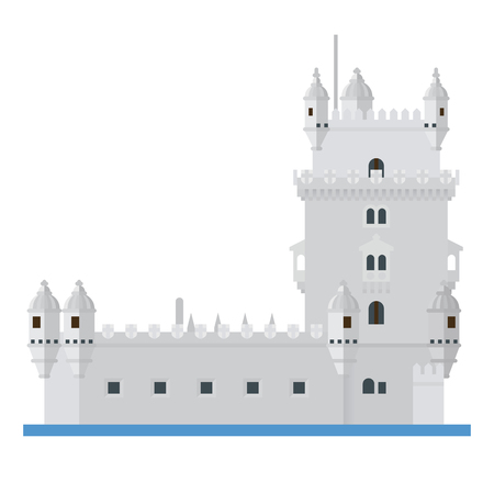 Flat design isolated vector icon of Torre de Belem, the Belem Tower, at Lisbon, Portugal