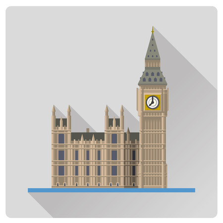 Flat design long shadow vector illustration  of Big Ben, the Elizabeth Tower at Westminster Palace, London, England Illustration