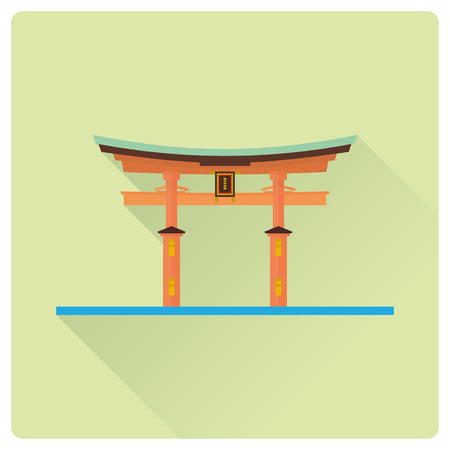 Flat design long shadow vector icon of Itsukushima Shrine Torii, Miyajima, Japan. Illustration
