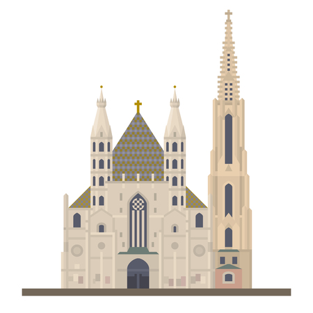 Flat design vector icon of Saint Stephens Cathedral or Stephansdom at Vienna, Austria