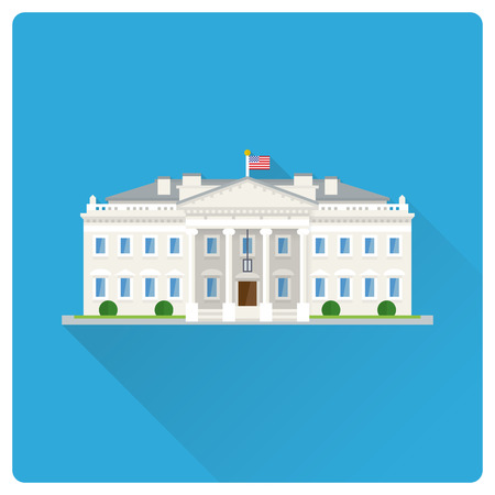 Flat design long shadow vector illustration of The White House at Washington, DC Vector Illustratie