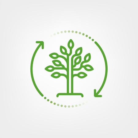 Arrows surrounding tree. Reforestation symbol. Vector line icon.