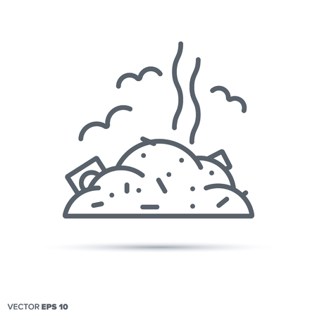 Junkyard vector line icon. Pollution and  environmental damage symbol. 向量圖像