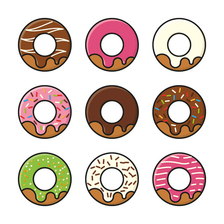 Set of nine filled line donut icons with a variety of flavors and toppings