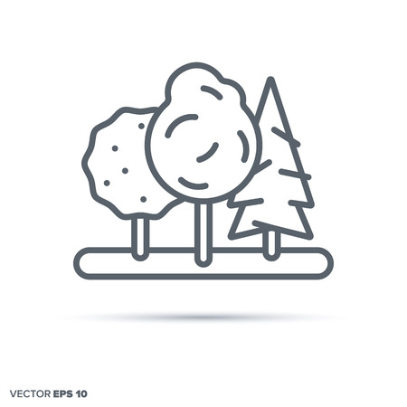 Trees in a forest or garden vector line icon. Nature and environment symbol.