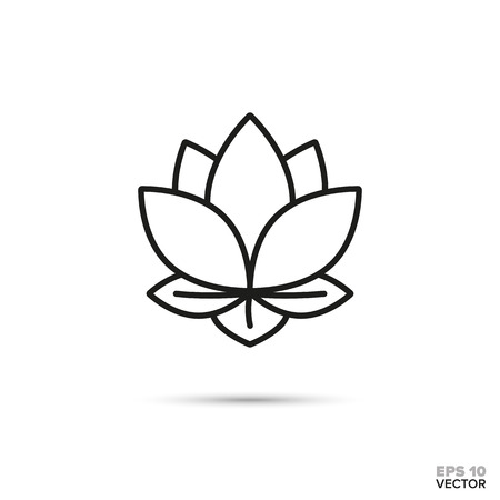 Lotus flower vector line icon. Spa and zen symbol.