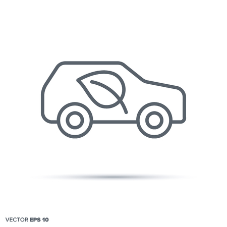 Environment friendly car vector line icon.. Green transportation symbol.