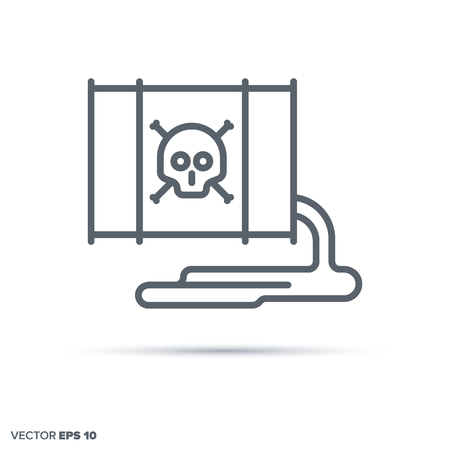Leaking toxic waste barrel vector line icon. Environmental damage symbol. Vectores