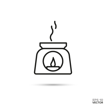 Incense burner vector line icon. Spa and aromatherapy symbol.
