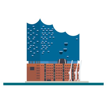 Flat design isolated vector icon of Elbe Philharmonic Hall at hamburg, GErmany