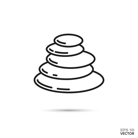 Stack of pebbles vector line icon. Zen, meditation and harmony symbol.