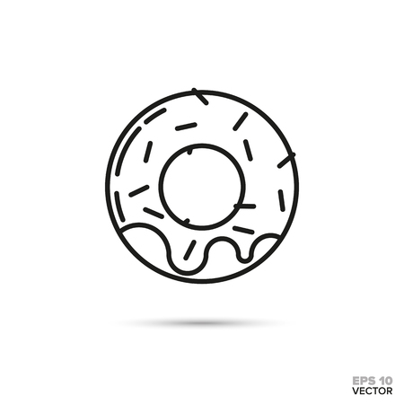 donut with sprinkles and icing vector line icon. Sweet food symbol.
