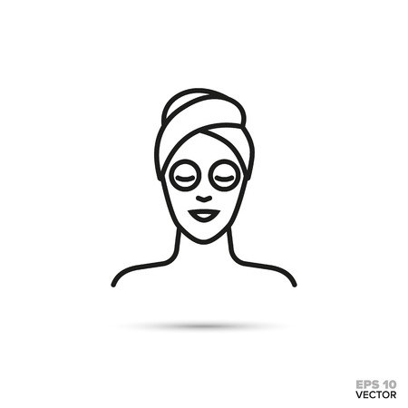 Woman with facial mask and head wrapped in towel vector line icon. Spa, beauty and cosmetics symbol.