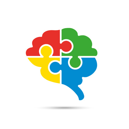 Brain split into jigsaw puzzle pieces. Connectivity, logics and creative process concept. Vector illustration.