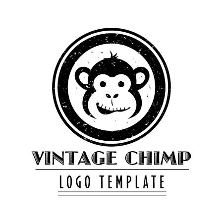 Cartoon-Schimpansen-Maskottchen-Firmenvorlage im Vintage-Stil Vektorgrafik