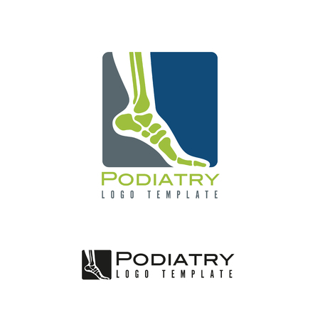 Vector  template for podiatry with foot and ankle bones in rounded square Illustration