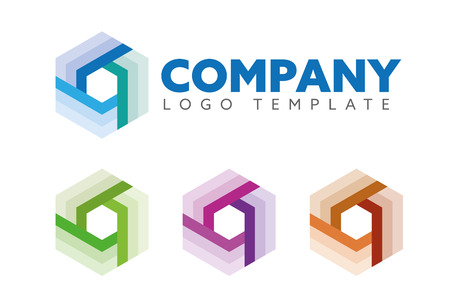 Hexagon shape company  vector template, abstract cube symbol for science, technology or logistics