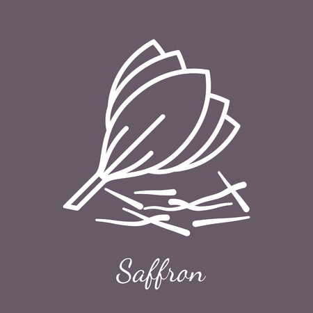 Saffron crocus blossom and threads  icon. Flavoring spices vector symbol. Stock Vector - 112801298