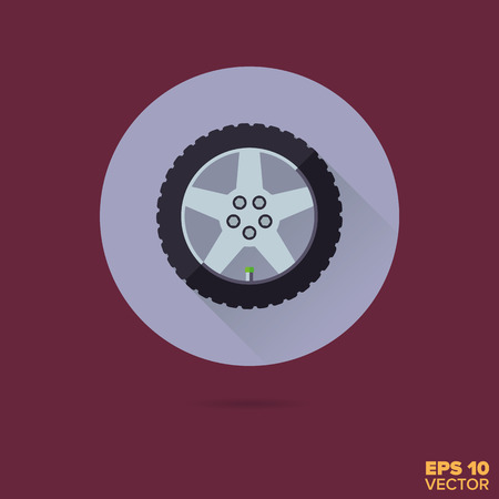 car alloy wheel with tire flat design vector icon Иллюстрация