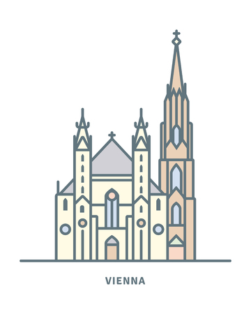 Austria line icon. Saint Stephens Cathedral  vector illustration.
