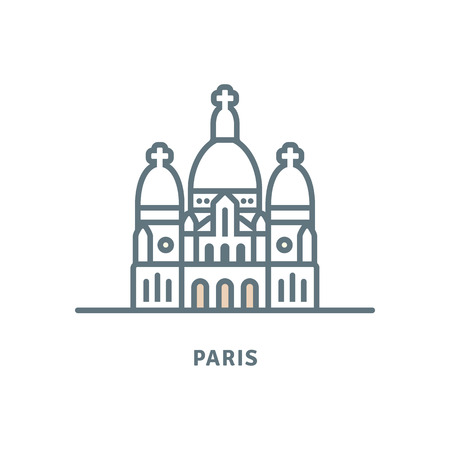 Paris line icon. Sacre-Coeur Basilica vector illustration. Illustration