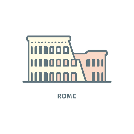 Rome line icon. Colosseum ruins vector illustration.