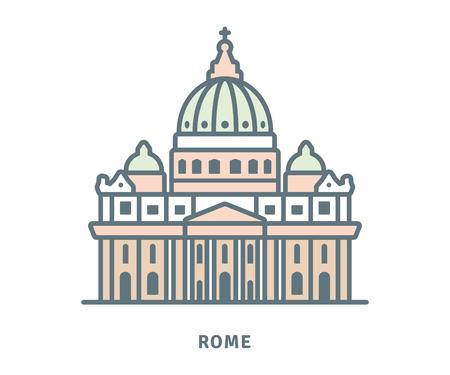 Icono de la línea de Roma. Basílica de San Pedro en la ilustración de vector del Vaticano. Ilustración de vector