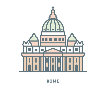 Rome line icon. Saint Peters Basilica at The Vatican vector illustration.