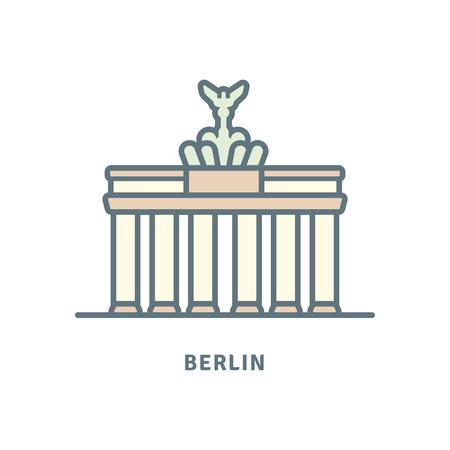 Germany line icon. Brandenburg gate vector illustration.