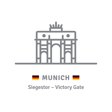 Germany landmark line icon. Munich Victory Gate and German flag vector illustration.