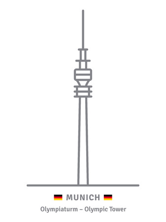 Munich line icon. Olympiaturm television tower and German flag vector illustration.