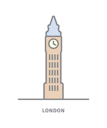 London line icon. Big Ben vector illustration. Illustration