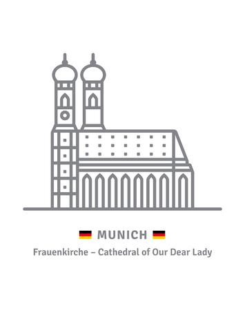 Germany landmark line icon. Munich Frauenkirche and German flag vector illustration.