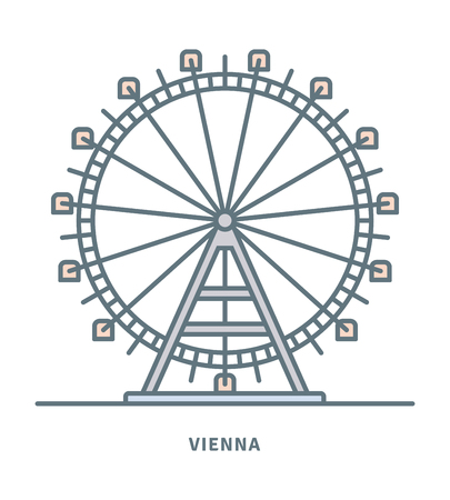 Vienna line icon. Prater ferris wheel vector illustration.