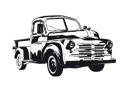Ilustración de vector de silueta de camioneta pickup vintage 1950 Ilustración de vector
