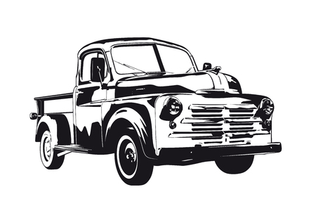 Vintage 1950 pickup truck silhouette vector illustration