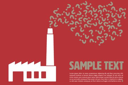Graphic vector template with question marks being emitted from factory chimney and sample text on red background