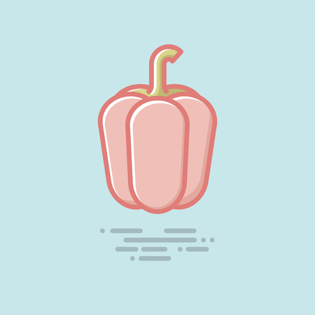 Red bell pepper filled line icon. Healthy vegetable vector symbol.  イラスト・ベクター素材
