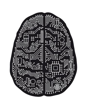 Carte mère cerveau humain en forme d'illustration vectorielle isolé. Concept d'intelligence artificielle et de technologie en noir et blanc.