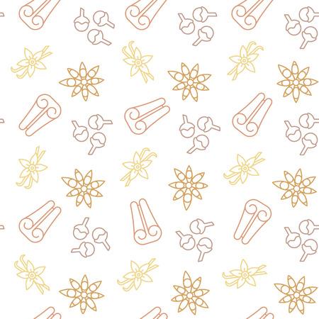Christmas spices seamless background pattern vector illustration with cinnamon, cloves, vanilla and star anise symbols Illusztráció