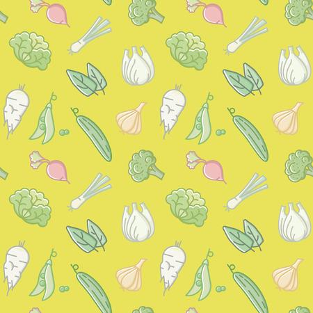 Seamless wallpaper pattern with varous vegetables vector illustration Ilustrace
