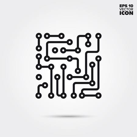 Electronic circuit line icon. Abstract electronic component vector symbol. Vektorové ilustrace
