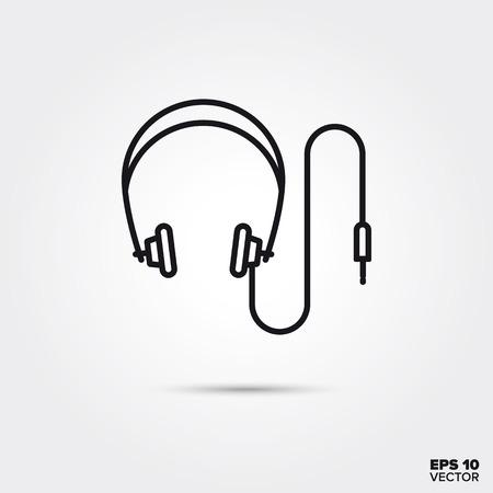 Headphones line icon vector illustration. Media and entertainment symbol. Ilustração