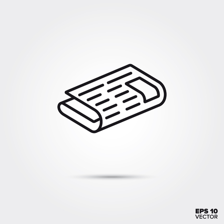 Folded newspaper line icon vector illustration. Media and entertainment symbol.