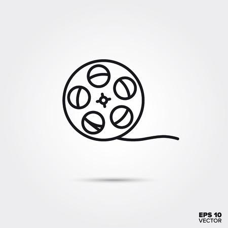 film reel line icon vector illustration. Media and entertainment symbol.