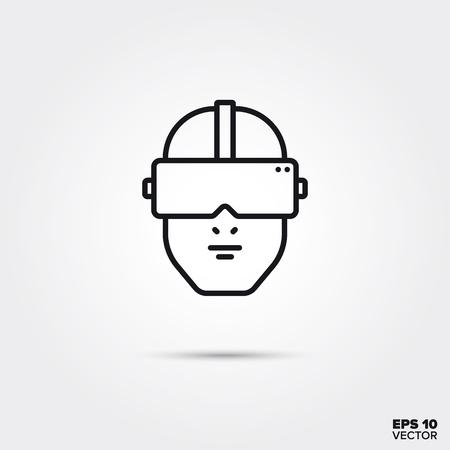 Cabeza humana con ilustración de vector de icono de línea de gafas de realidad virtual. Símbolo de medios y entretenimiento.