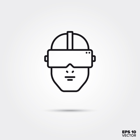 Human head with virtual reality goggles line icon vector illustration. Media and entertainment symbol.