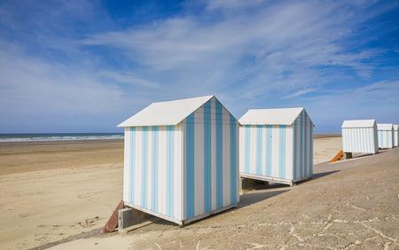 Striped beach cabins at Hardelot-Plage, Pas-de-Calais, France